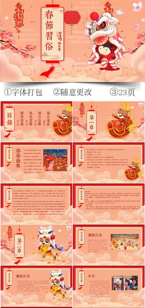 新年喜庆春节传统风俗PPT模板