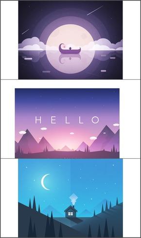 可编辑风景  插画系列模仿(内页为原图)