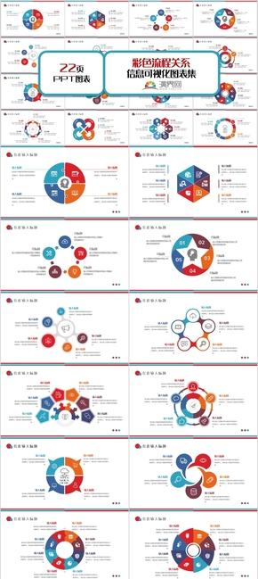 彩色流程关系图表集PPT模板