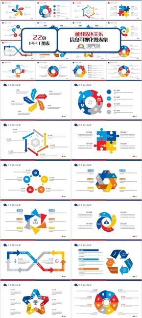創意多彩通用循環關系PPT模板