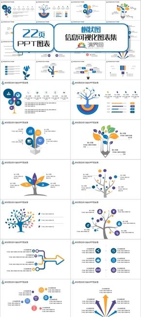 彩色樹狀圖信息可視化PPT圖表集