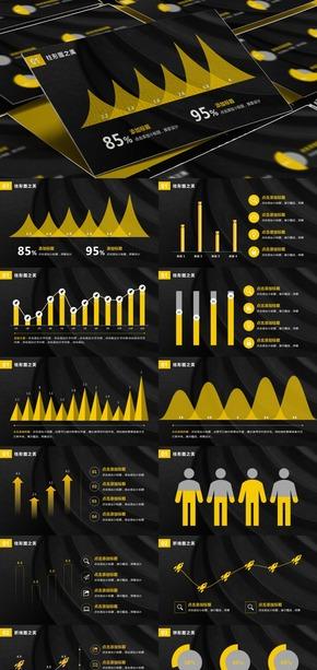 【挥霍】黄色扁平化商务数据图表PPT模板(PPT附有相关矢量图)