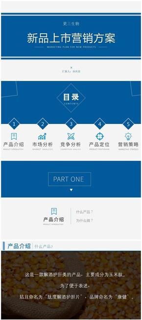 蓝色商务简洁色块产品策划新品上市推介PPT作品