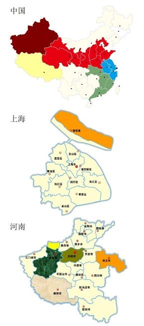 中国各省市地图拼图矢量图
