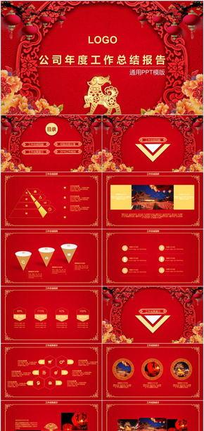 喜庆红色新年总结计划PPT模板