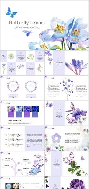 【鸟语花香】淡蓝蝴蝶花卉工作模板