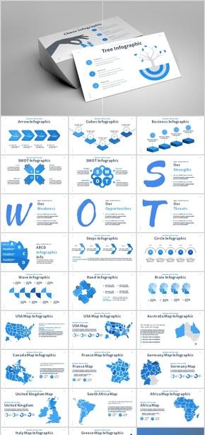 欧美蓝红绿三色商务PPT图表合集