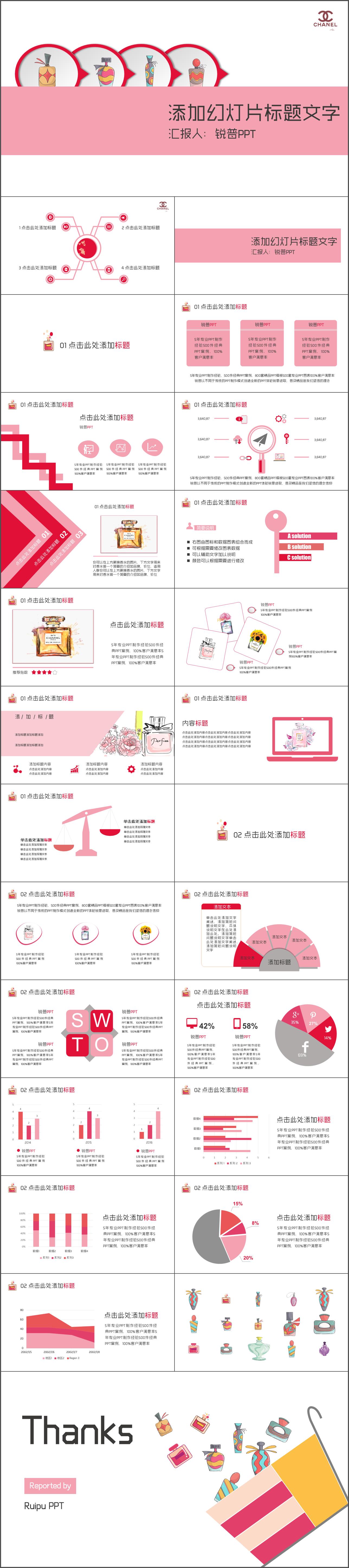 "ppt模板时尚香水(香奈儿no.5)介绍汇报PPT免费下载"""