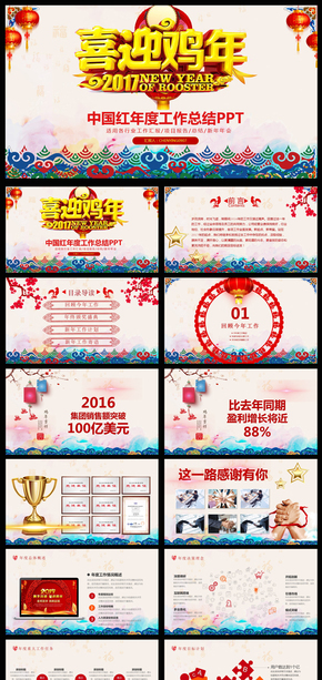 2017鸡年新年总结颁奖典礼年会PPT模版