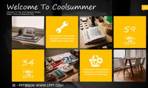 黄黑色IOS风格商务PPT模板