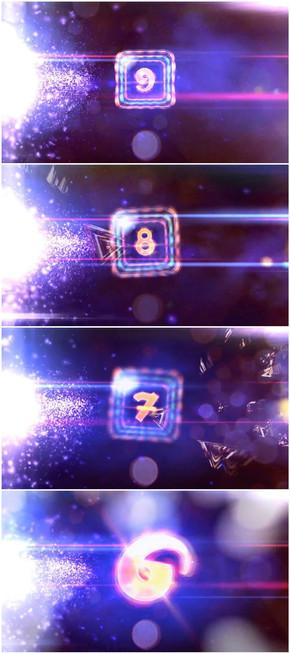 炫彩多边形粒子闪烁10秒倒计时