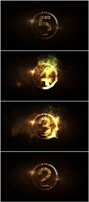 PPT 5秒开场金色粒子倒计时