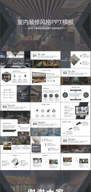 室内设计装修装饰PPT模板动态素材建筑室内装潢