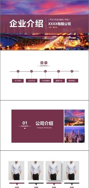 紫色简约企业宣传 企业文化 公司介绍 企业介绍简约企业构架介绍PPT模板