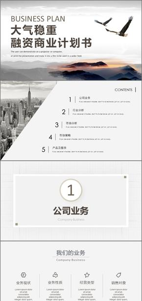 商务大气稳重商业计划书商业创业融资商业计划书PPT模板商业计划书互联网商业