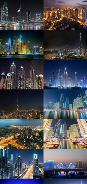 迪拜城市夜景壁纸