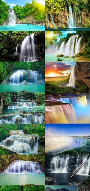 风景瀑布素材美图横版