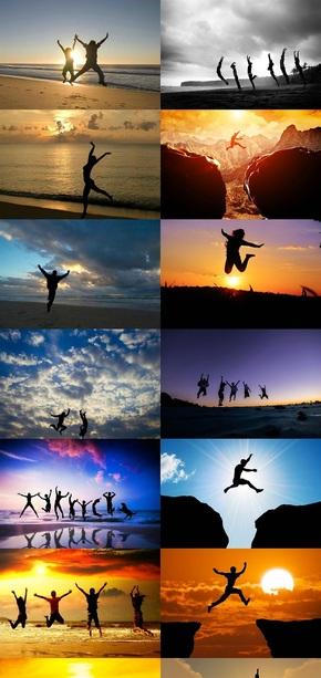 人物跳跃剪影图片