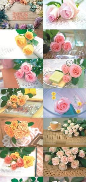 粉红玫瑰花艺图片