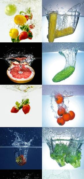 落入水中的蔬菜水果摄影素材