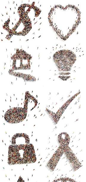人群组成的创意图标