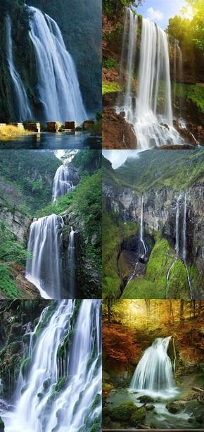 风景瀑布素材美图竖版