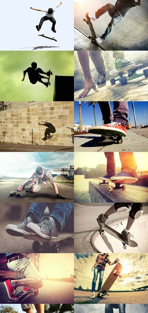 滑板运动特写图片