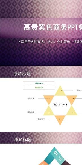 高贵紫色商务PPT模板