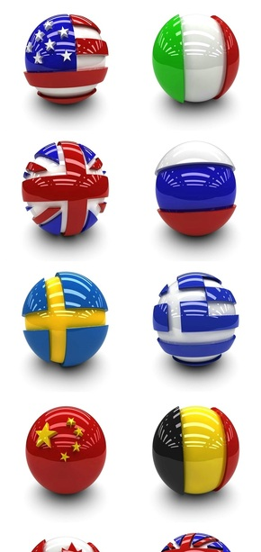 各国国旗立体球形图标