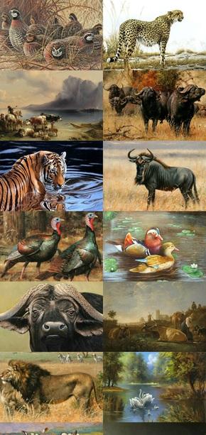 动物油画素材插画