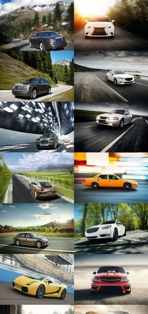行驶中的汽车动感素材图片