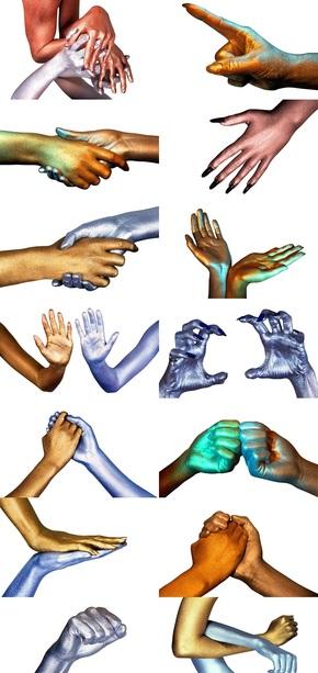 人体部位金银手势素材图片