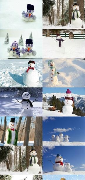 形态各异雪人素材图片
