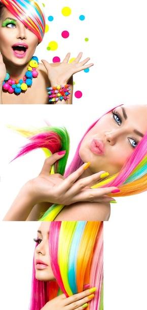 头发染成彩色的外国美女高清