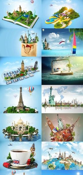 3D卡通旅游宣传素材图片