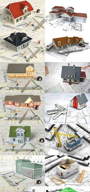 建筑模型与施工图纸高清图片二