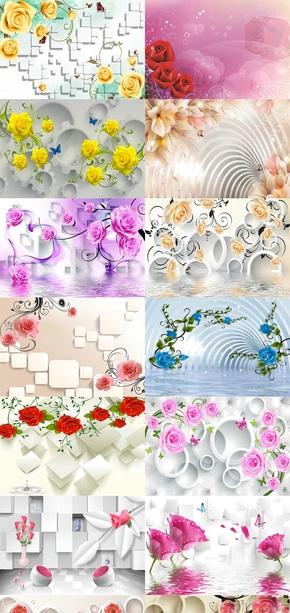 玫瑰背景墙素材图片