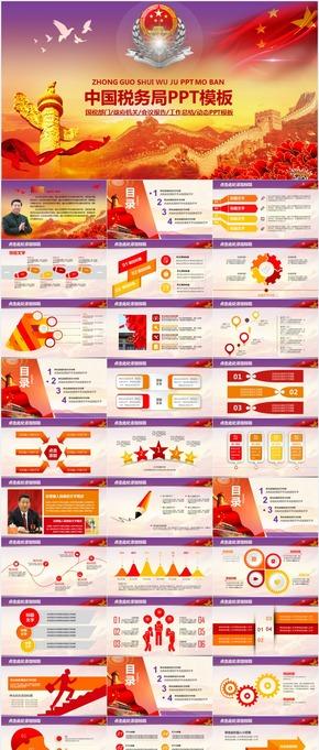 国税部门政府机关会议报告工作总结动态PPT模板