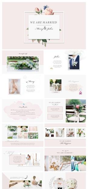 【浅粉色】高级感时尚简约欧美风小清新温馨唯美结婚婚礼PPT