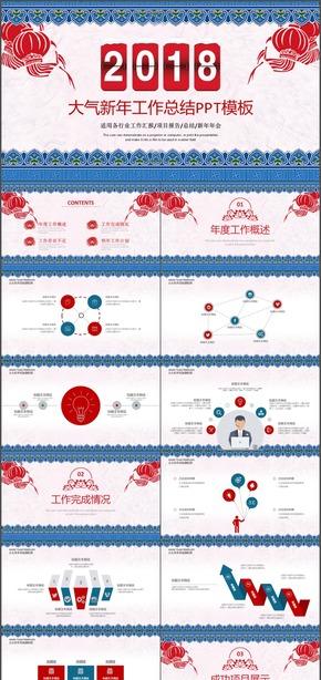 新年中国风春节节日工作总结动态PPT模板