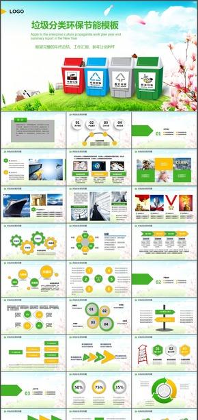 卡通环保局垃圾分类绿色低碳保护环境动态PPT模板