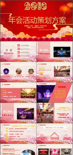 红色中国风年会活动策划报告动态PPT模板