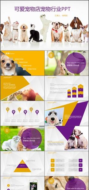 宠物店宣传宠物食品介绍猫狗动物宠物行业通用PPT模版