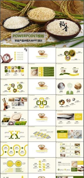 绿色农业产品水稻大米动态PPT模板