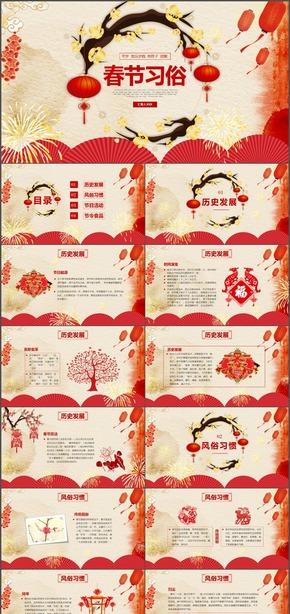春节习俗民俗介绍动态PPT模板