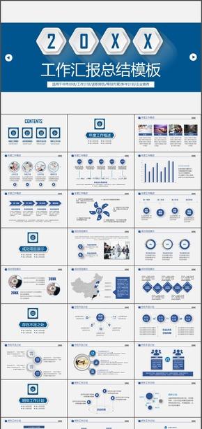 蓝色大气商务工作总结汇报动态PPT模板