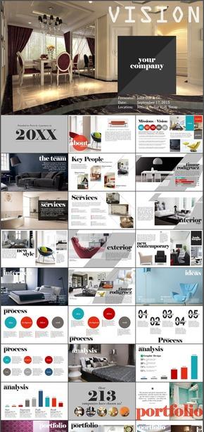 欧美商务扁平时尚家具室内设计PPT模板