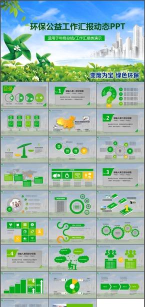 绿色清新社区活动户外健康环保公益动态PPT模板