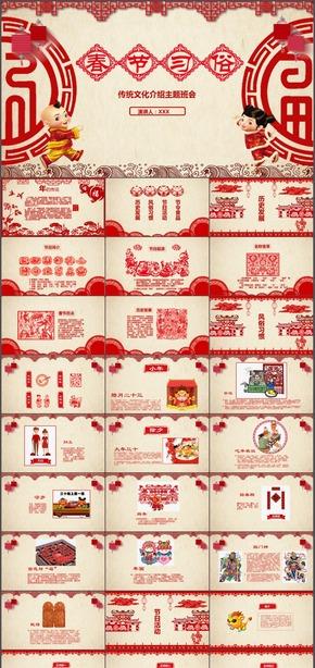 春节习俗风俗传统文化介绍主题教育班会动态PPT模板