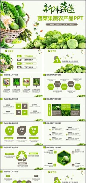 绿色新鲜蔬菜食品农产品推广宣传推介汇报PPT模板